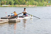 Handicapped rowing race — Stock Photo