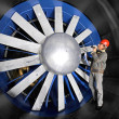 Inspecting a windtunnel - Foto Stock