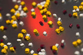 Polymer grains on a steel sheet — Stock Photo