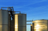 Stainless steel industrial Silos — Stock Photo