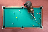 Pool table from above — Stock Photo