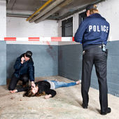 Securing a crime scene — Stock Photo
