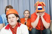 Soccer fans in disbelief — Stock Photo