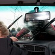 Broken windscreen - Stock Photo