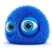 3d funny fluffy creature with big blue eyes — Stock Photo