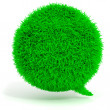 3d green grass bubble talk on white background — Stock Photo