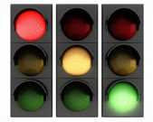 3d traffic lights on white background — Foto de Stock
