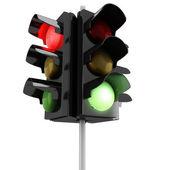 Semáforos 3d sobre fondo blanco — Foto de Stock