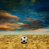 Calcio in terra deserto — Foto Stock