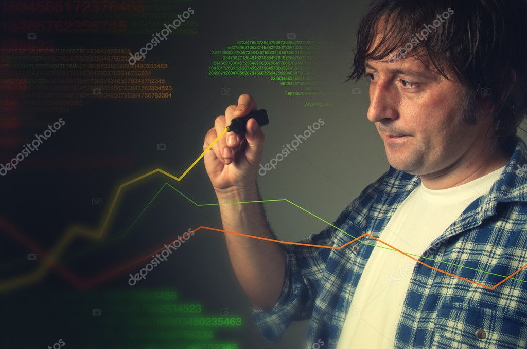 Casual man drawing a rising multicolor chart — Stock Photo #10990996