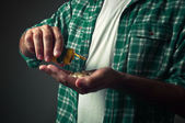 Man taking pills — Foto de Stock