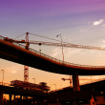 Construction crane in dusk — Stock Photo
