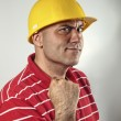 Young construction worker confident — Stock Photo