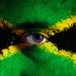 Jamaican Flag on face — Stock Photo