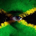 Jamaican Flag on face — Stock Photo
