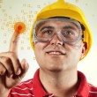 Construction engineer with touch screen — Foto Stock