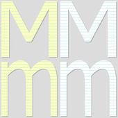 Papier czcionka ustawiona literę m — Wektor stockowy