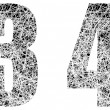 Abstract Black and White Font Numbers 3 and 4 - Imagen vectorial