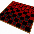 3d Render of a Checkers Game Isolated on White - Stock fotografie