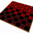 3d Render of a Checkers Game Isolated on White - Stock Photo