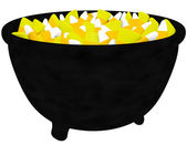 3d Render of a Witches Cauldron Filled with Candy Corn Isolated on White — Stock Photo