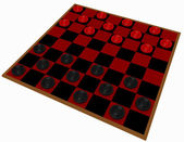 3d Render of a Checkers Game Isolated on White — Stock Photo