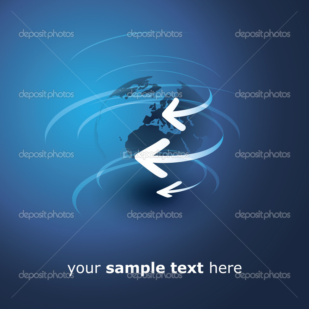 Blue Globe Design Concept with Arrows - Abstract Illustration in Editable Vector Format — Stock Vector #12271216