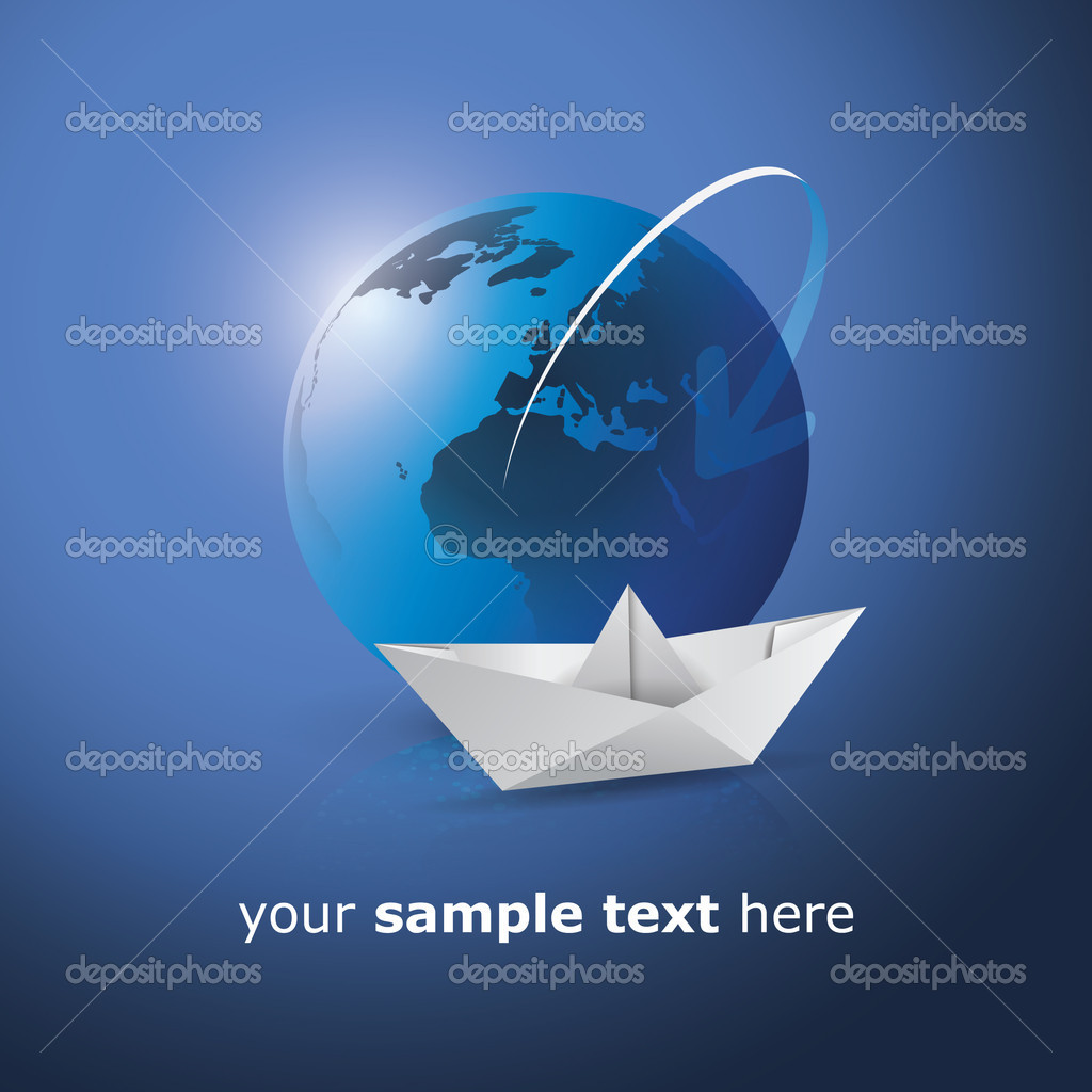 Paper Boat and Blue Globe  - Abstract Concept Illustration in Editable Vector Format — Stock Vector #12271219