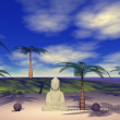 Buddha and landscape — Stock Photo