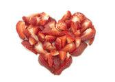 Strawberry heart isolated on white — Stock Photo