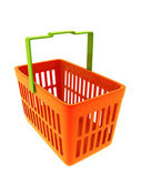 Colorful shopping basket isolated on white — Stock Photo