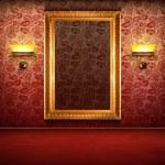 Retro interior with empty gold frame — Stock Photo