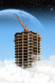Construção de arranha-céus sobre as nuvens — Foto Stock