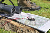Equipment to prepare his hiking — Stock Photo
