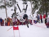 Jumping sportsmen — Stock Photo