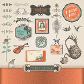 Vintage elements and labels — Stock Vector