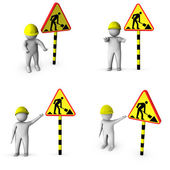 3d worker with road works sign — Stock Photo