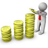 3d człowiek ze stosem monet Dolar — Zdjęcie stockowe