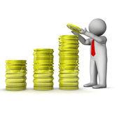 Homem 3d mostrando crescimento em dinheiro — Foto Stock
