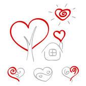 Elle çizilmiş kalpler 2 — Stok Vektör