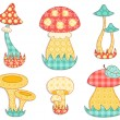 Isolated mushroom patchwork set. — Stock Vector