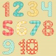 Vintage numbers patchwork set. — Stockvector