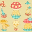 Vintage mushroom patchwork set. — Stock Vector
