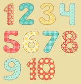 Jeu de patchwork vintage numéros. — Vecteur
