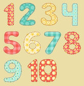 Vintage numbers patchwork set. — Stock Vector