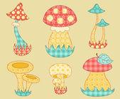 Vintage mushroom patchwork set. — Stock Vector