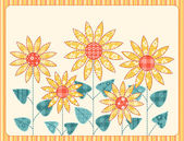 Tarjeta de girasoles patchwork. — Vector de stock