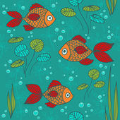 Fishes in a pond — Vector de stock