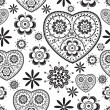 Seamless pattern with hearts and flowers — Stock Vector #10753168