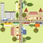 Cartoon town map. — Stock Vector